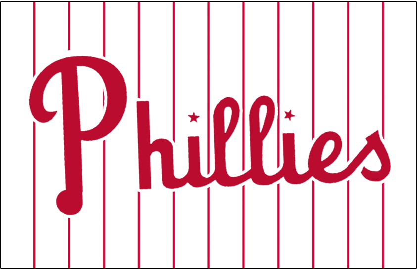 Philadelphia Phillies Logo Jersey Logo (1950-1969) - Phillies in red with stars dotting each i on white with red pinstripes. Worn on front of Philadelphia Phillies home jersey from 1950-1969 SportsLogos.Net