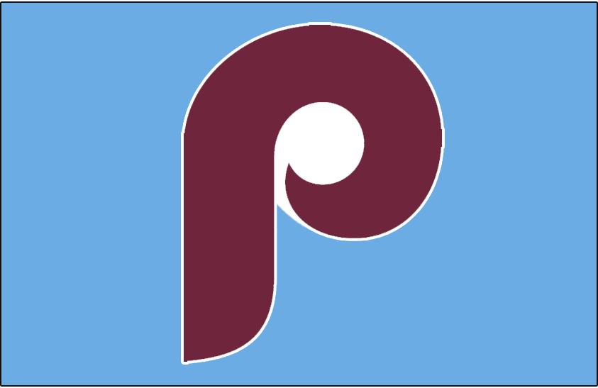 Philadelphia Phillies Logo Jersey Logo (1974-1986) - A maroon P on a powder blue jersey, worn on Phillies road jersey from 1974-86 SportsLogos.Net