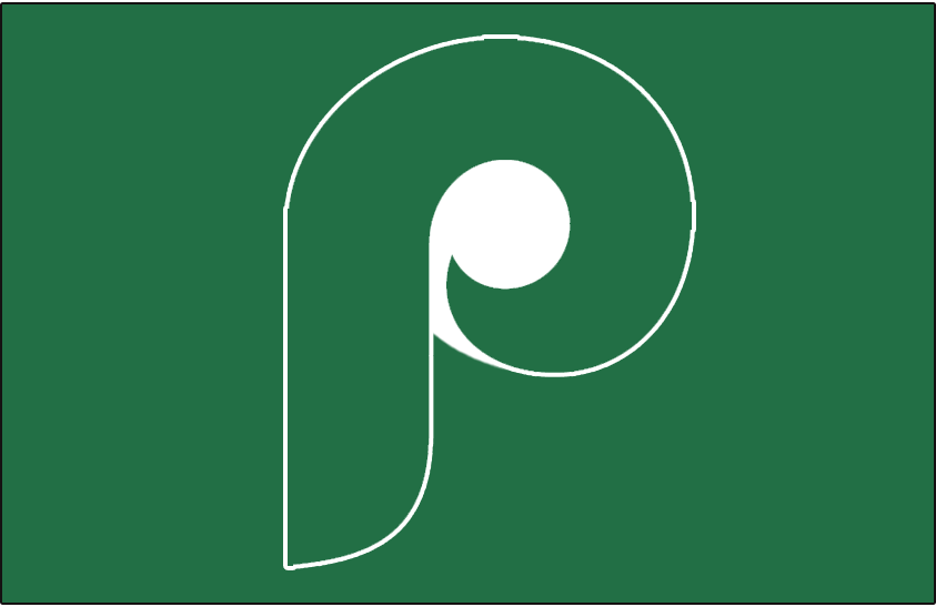 Philadelphia Phillies Logo Batting Practice Logo (1981) - A green P on a green background, worn for St. Patricks Day during a Spring Training game on March 17, 1981 SportsLogos.Net