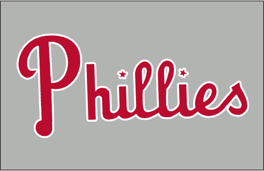 Philadelphia Phillies Logo Jersey Logo (1950-1969) - Phillies in red with stars dotting each i on grey. Worn on front of Philadelphia Phillies road jersey from 1950-1969 SportsLogos.Net