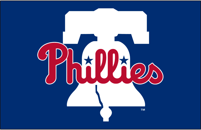 Philadelphia Phillies Logo Primary Dark Logo (2019-Pres) - Phillies primary logo on blue. Phillies in red on a white Liberty Bell on blue. Simplified version of previous logo, diamond removed, blue darkened, underline removed, and bell tweaked slightly SportsLogos.Net