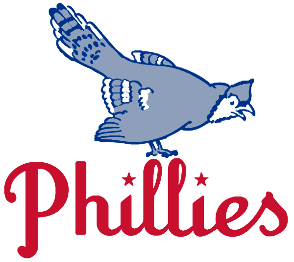 Philadelphia Phillies Logo Primary Logo (1944-1945) - A blue jay perched above the Phillies script in red, stars dotting each i SportsLogos.Net