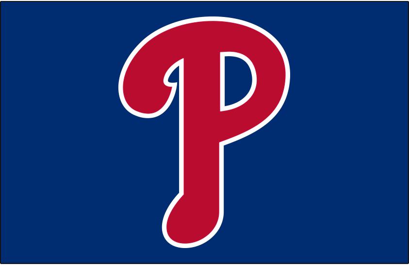 Philadelphia Phillies Logo Cap Logo (2019-Pres) - Red P with white trim on updated shade of blue, worn on Phillies alternate cap starting in 2019 SportsLogos.Net