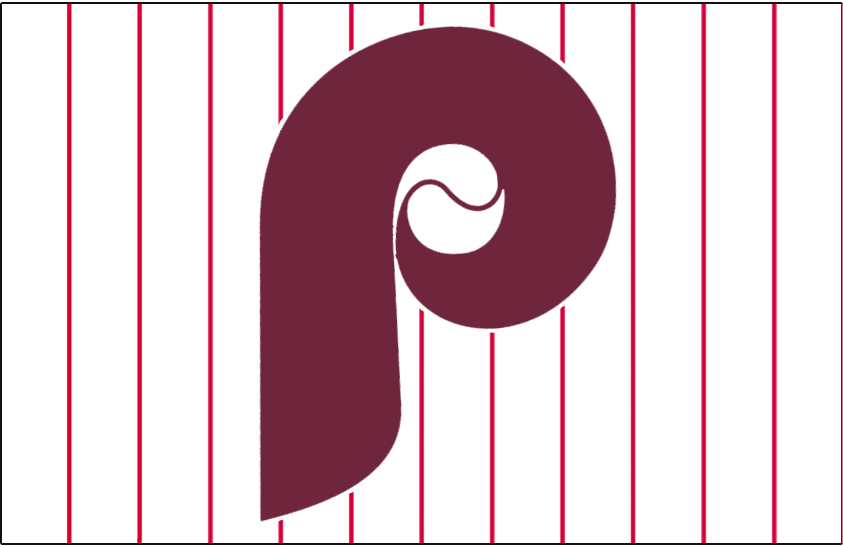 Philadelphia Phillies Logo Jersey Logo (1970-1972) - A maroon P with a baseball on a white jersey with red pinstripes, worn on Phillies home jersey from 1970-72 SportsLogos.Net