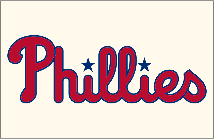 Philadelphia Phillies Logo Jersey Logo (2019-Pres) - Phillies in red and updated shade of blue on cream, worn on Phillies home alternate jerseys starting in 2019 SportsLogos.Net