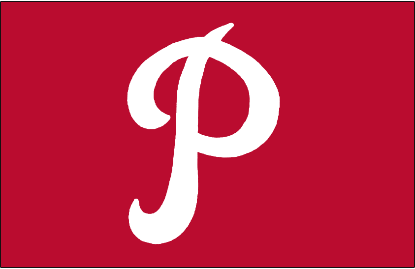 Philadelphia Phillies Logo Cap Logo (1950-1969) - A white P on red, worn on the Phillies home and road caps for 20 consecutive seasons from 1950-69 SportsLogos.Net