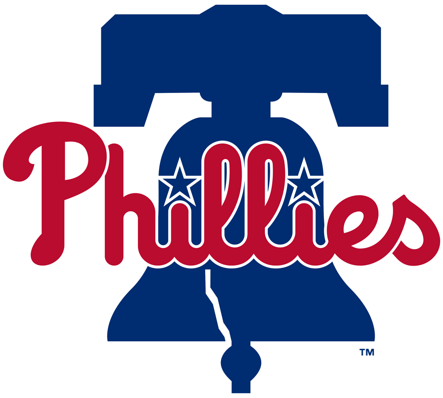 Philadelphia Phillies Logo Primary Logo (2019-Pres) - Phillies in red on a blue Liberty Bell. Simplified version of previous logo, diamond removed, blue darkened, underline removed, and bell tweaked slightly SportsLogos.Net