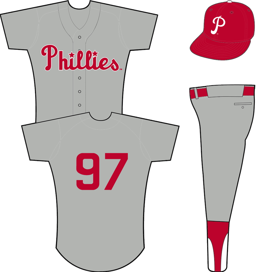 Philadelphia Phillies Uniform Road Uniform (1950-1969) - Phillies scripted in red across a grey jersey SportsLogos.Net
