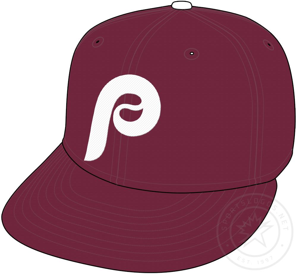 Philadelphia Phillies Cap Cap (2019-Pres) - Retro themed cap, white P on a maroon cap. Worn with throwback alternate uniform starting in 2019 SportsLogos.Net