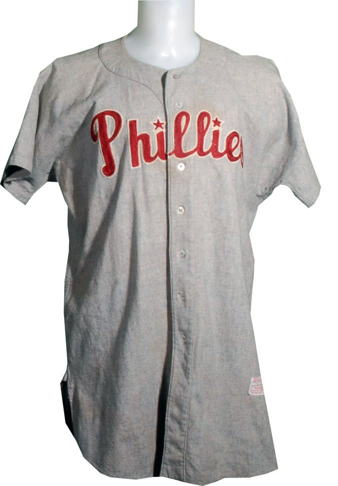 Philadelphia Phillies Game-Worn Jersey Photo Jersey Photo (1950-1969) - Game worn Philadelphia Phillies road jersey - Phillies in red script with stars dotting each i on grey. This style was worn from 1950-1969 SportsLogos.Net