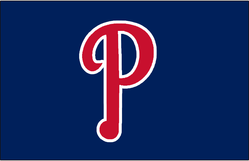 Philadelphia Phillies Logo Cap Logo (1946-1949) - A red P outlined in white on navy blue, worn on Phillies home and road caps from 1946-49 SportsLogos.Net
