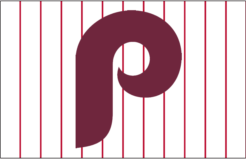 Philadelphia Phillies Logo Jersey Logo (1973-1986) - A maroon P on a white jersey with red pinstripes, worn on Phillies home jersey from 1973-86 SportsLogos.Net