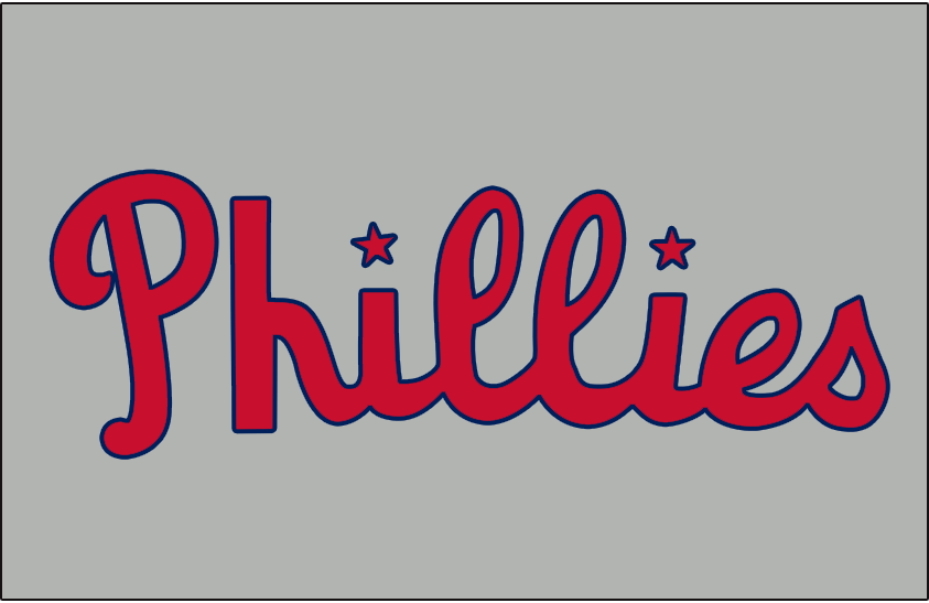 Philadelphia Phillies Logo Jersey Logo (1946-1949) - Phillies in red and blue with two stars dotting the the i, worn on Phillies road jersey from 1946-49 SportsLogos.Net