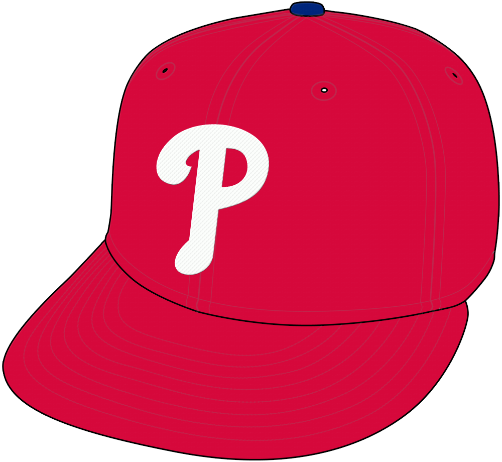 Philadelphia Phillies Cap Cap (1992-Pres) - Phillies home and road cap, white P on all red cap with blue pill SportsLogos.Net