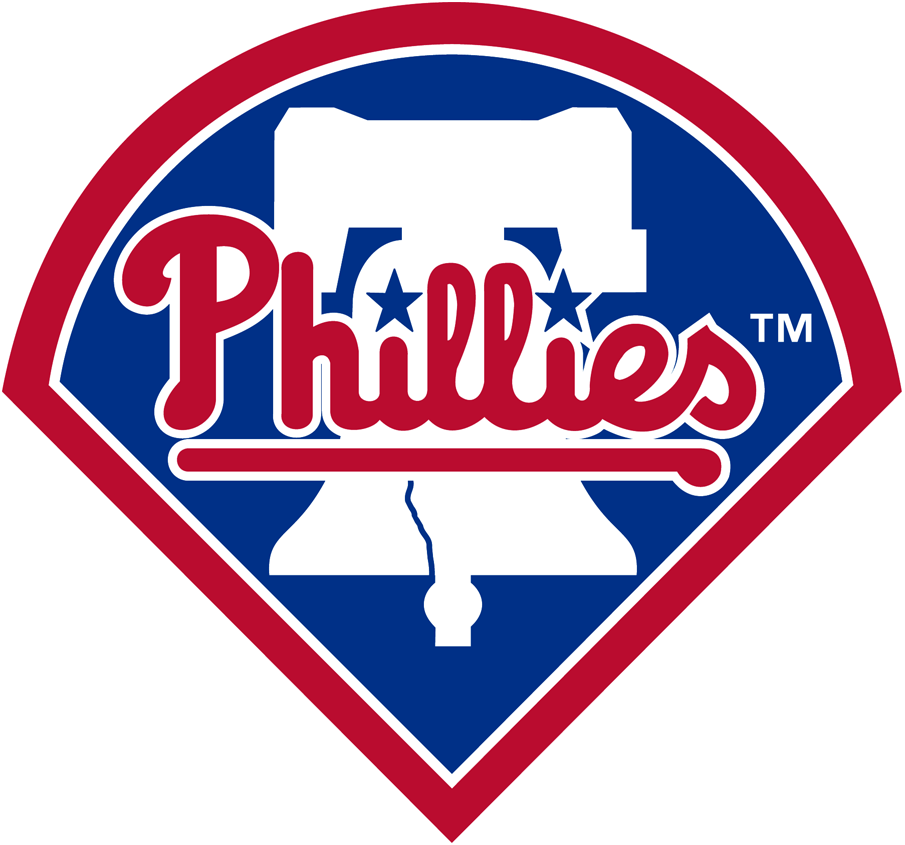 Philadelphia Phillies Logo Primary Logo (1992-2018) - Phillies in red written across liberty bell on blue diamond SportsLogos.Net