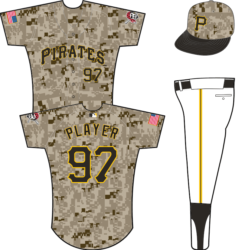 Pittsburgh Pirates Uniform Alternate Uniform (2015-Pres) - PIRATES arched in black outlined in gold on digital camouflage pattern. Worn with camouflage cap for every Thursday home game starting in 2015 SportsLogos.Net
