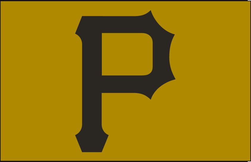 Pittsburgh Pirates Logo Cap Logo (2013-2015) - A black P on gold, worn on Pittsburgh Pirates Sunday home alternate caps from 2013 through 2015 SportsLogos.Net