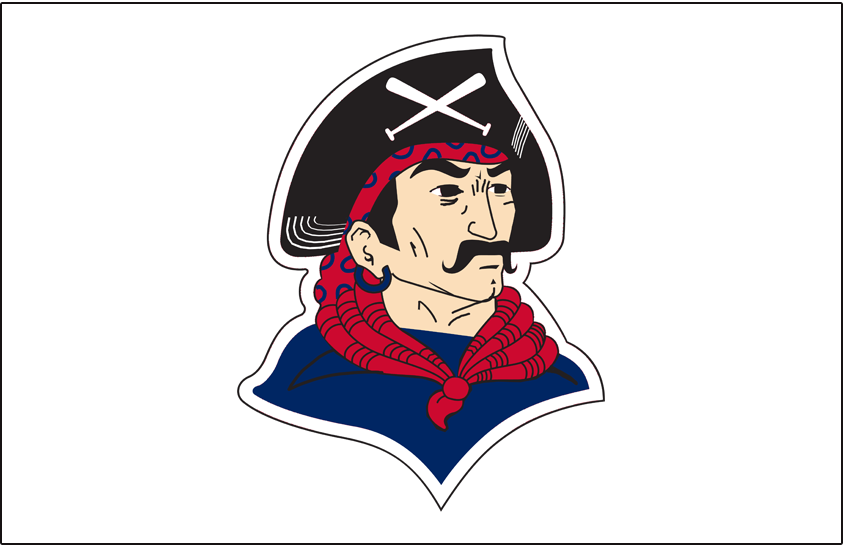 Pittsburgh Pirates Logo Jersey Logo (1940-1941) - Pirate head wearing black hat with crossed baseball bats, blue shirt, and red scarf on white, worn on Pittsburgh Pirates home jersey in 1940 and 1941 SportsLogos.Net