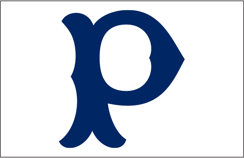 Pittsburgh Pirates Logo Cap Logo (1908) - Blue P on a white cap, worn at home by Pittsburgh Pirates in 1908 SportsLogos.Net