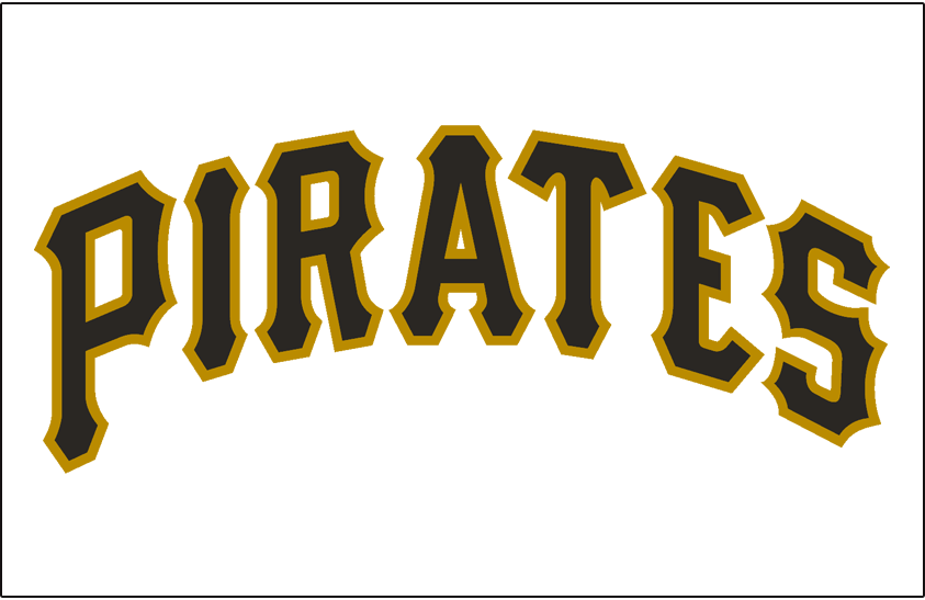 Pittsburgh Pirates Logo Jersey Logo (1970-1976) - Pirates in black and gold on a white jersey, worn on Pirates home jersey from 1970 until 1976 SportsLogos.Net