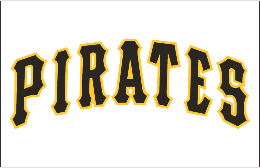 Pittsburgh Pirates Logo Jersey Logo (1980-1996) - Pirates arched in black with a gold outline, worn on Pirates home jersey from 1980 through 1996 SportsLogos.Net