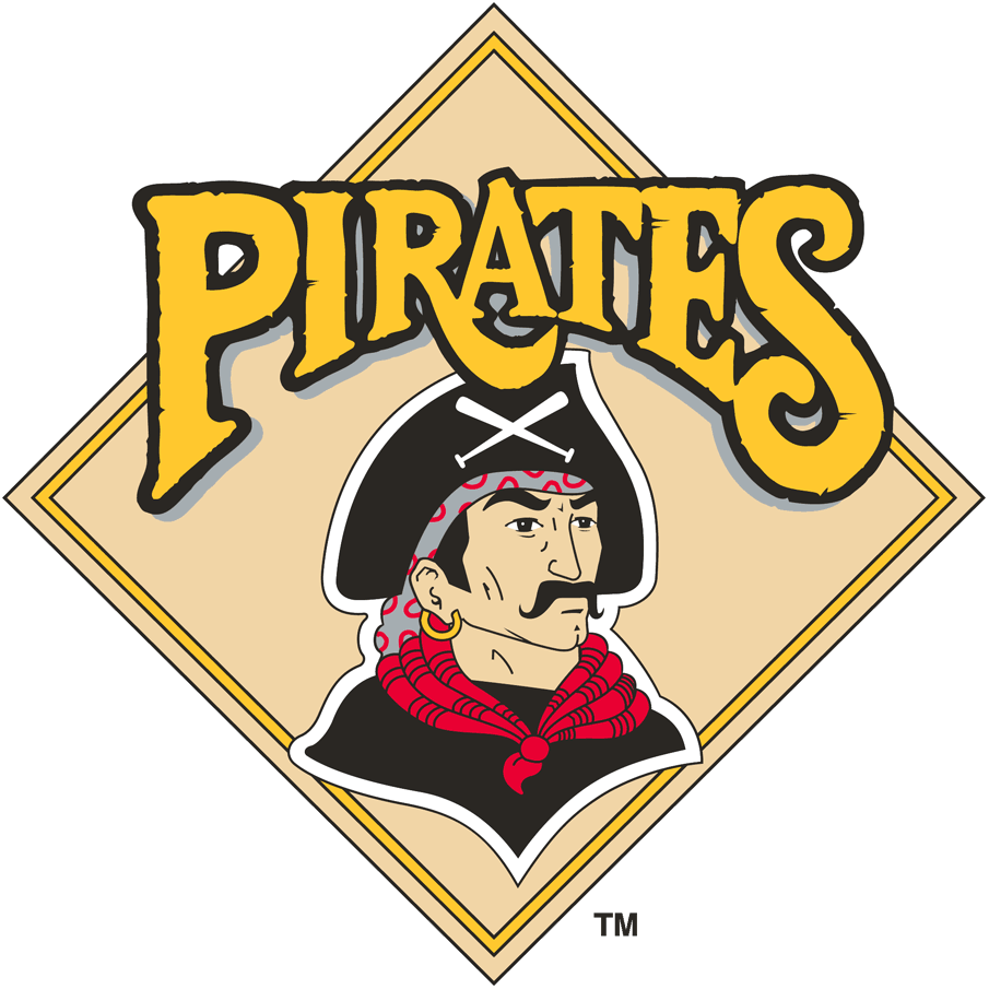 Pittsburgh Pirates Logo Primary Logo (1987-1996) - A pirate inside a yellow diamond with 'Pirates' above SportsLogos.Net