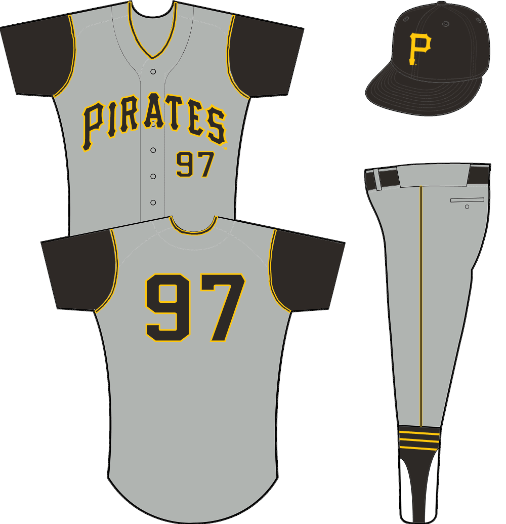 Pittsburgh Pirates Uniform Road Uniform (1957-1970) - A grey vest worn with black undershirt - PIRATES arched across in black and yellow SportsLogos.Net
