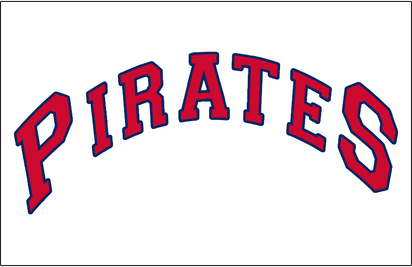 Pittsburgh Pirates Logo Jersey Logo (1942-1946) - PIRATES arched in red and blue on white, worn on Pirates home jersey from 1942 until 1946 SportsLogos.Net