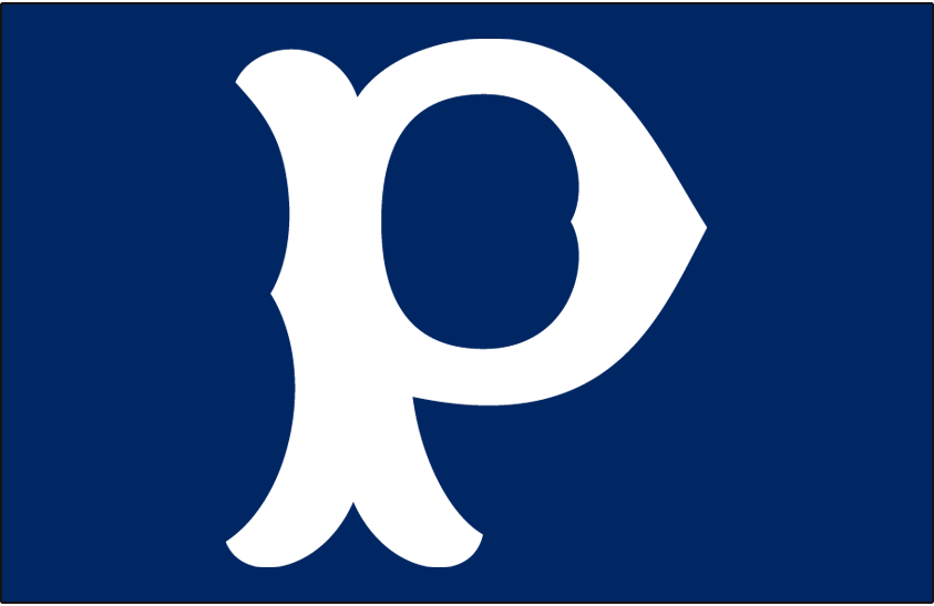 Pittsburgh Pirates Logo Cap Logo (1901-1909) - White P on a blue cap, worn by Pittsburgh Pirates full-time from 1901 through 1906, for home games only in 1907, road games only in 1908, and back to full-time in 1909 SportsLogos.Net