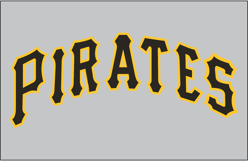 Pittsburgh Pirates Logo Jersey Logo (1957-1970) - PIRATES in black and gold on a grey jersey, worn on Pirates road jersey from 1957 until 1970 SportsLogos.Net