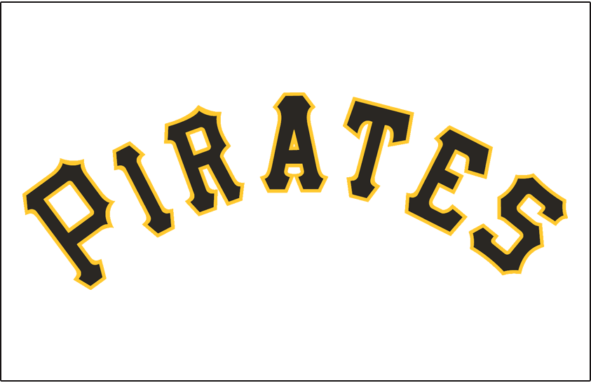 Pittsburgh Pirates Logo Jersey Logo (1948-1956) - Pirates in black and gold on a white jersey, worn on Pirates home jersey from 1948 until 1956 SportsLogos.Net