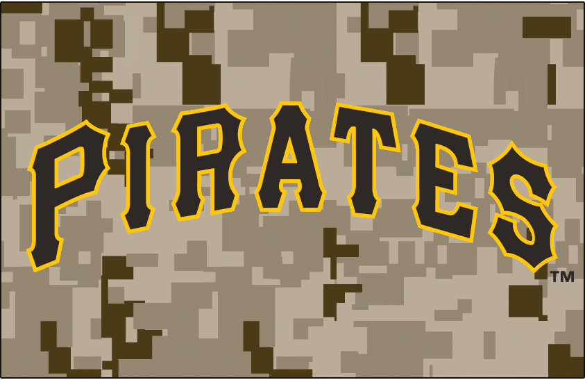 Pittsburgh Pirates Logo Jersey Logo (2015-2017) - PIRATES arched in black outlined in gold on digital camouflage pattern. Worn on Pittsburgh Pirates camouflage alternate jerseys from 2015 to 2017 SportsLogos.Net