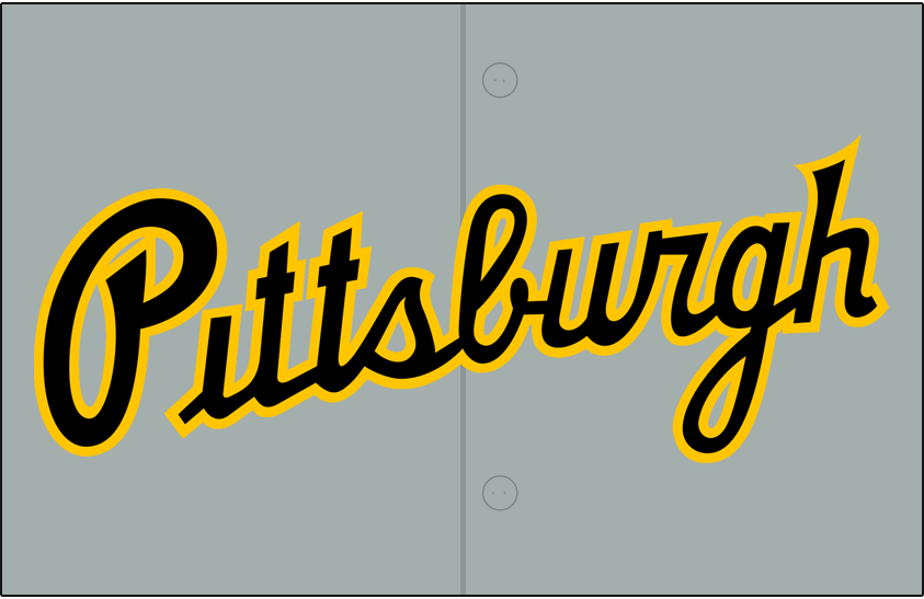 Pittsburgh Pirates Logo Jersey Logo (2020-Pres) - Pittsburgh scripted in black with yellow trim, worn on front of Pittsburgh Pirates road grey uniforms beginning with 2020 season SportsLogos.Net