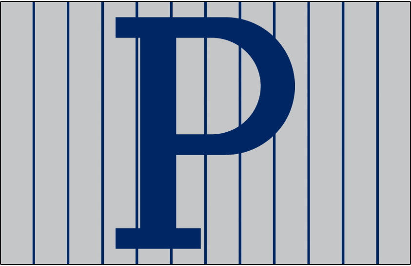 Pittsburgh Pirates Logo Cap Logo (1912-1914) - Blue P on a grey cap with blue pinstripes, worn by Pittsburgh Pirates on road from 1912 through 1914 SportsLogos.Net