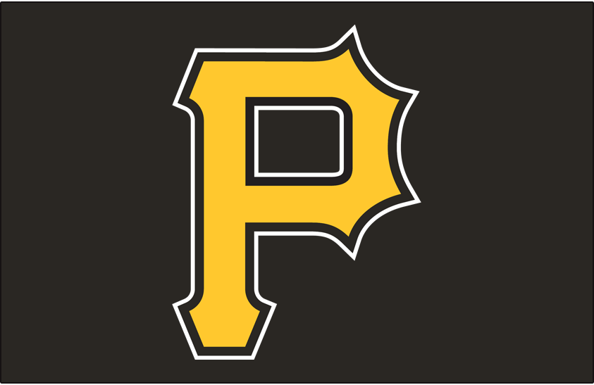 Pittsburgh Pirates Logo Cap Logo (2009-Pres) - A gold P with black and white outlines on black, worn on the Pittsburgh Pirates alternate cap since 2009 (also worn on their BP cap since 2007). SportsLogos.Net