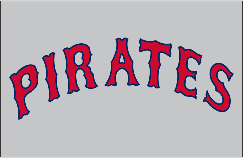 Pittsburgh Pirates Logo Jersey Logo (1933-1937) - PIRATES arched in a Tuscan style font in red and blue on grey, worn on Pirates road jersey from 1933 through 1937 SportsLogos.Net