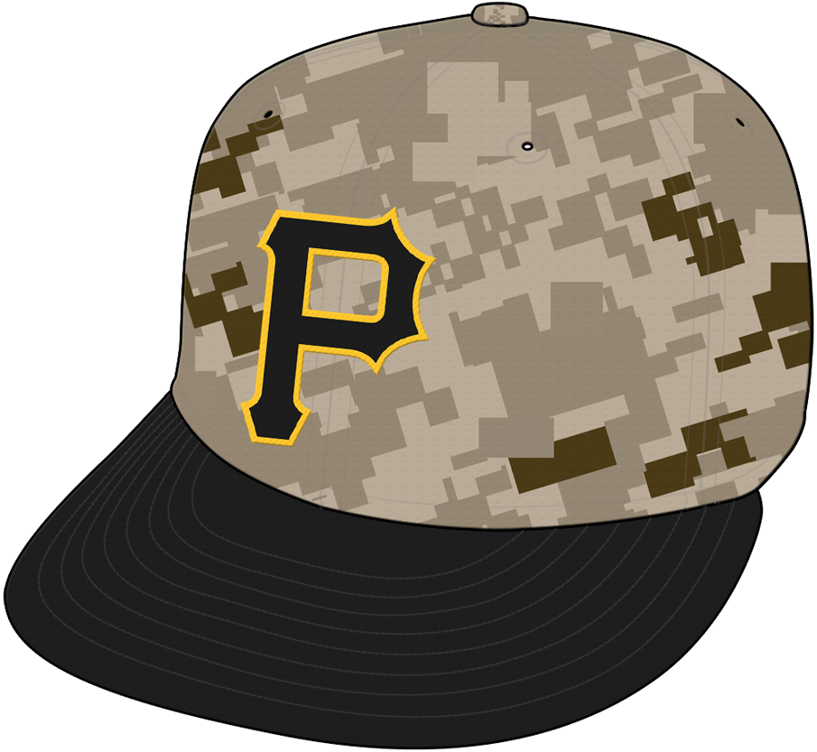 Pittsburgh Pirates Cap Cap (2015-2016) - Alternate camouflage cap -- A black P outlined in gold on a camouflage crown with black bill SportsLogos.Net