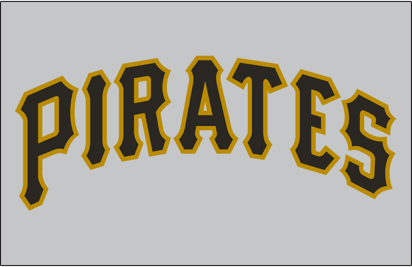 Pittsburgh Pirates Logo Jersey Logo (1970-1976) - Pirates in black and gold on a grey jersey, worn on Pirates road jersey from 1970 until 1976 SportsLogos.Net