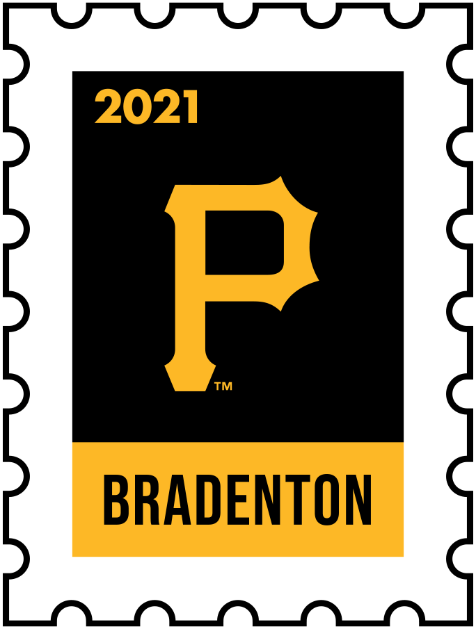Pittsburgh Pirates Logo Event Logo (2021) - The Pittsburgh Pirates 2021 Spring Training logo, the design follows a league-wide style using a postage stamp in team colours with the team logo in the middle. SportsLogos.Net