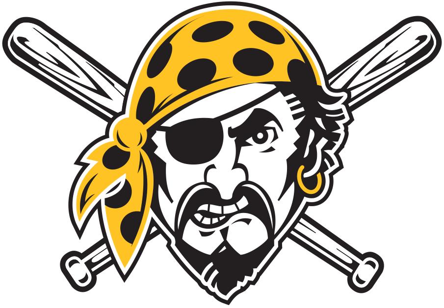Pittsburgh Pirates Logo Misc Logo (2020-Pres) - Pirate head wearing yellow bandana, worn on sleeve of Pirates road alternate black jersey SportsLogos.Net