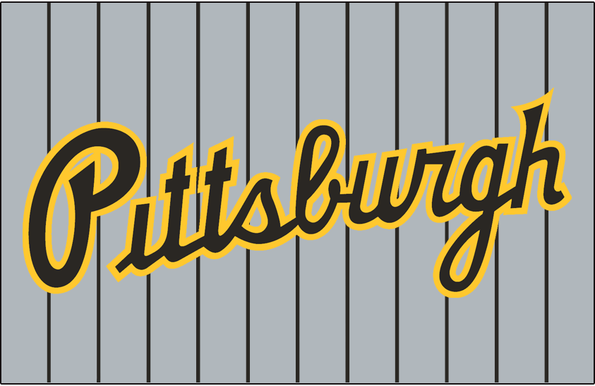Pittsburgh Pirates Logo Jersey Logo (1997-2000) - Pittsburgh scripted in black and gold on a grey jersey with black pinstripes, worn on Pirates road jersey from 1997 until 2000 SportsLogos.Net