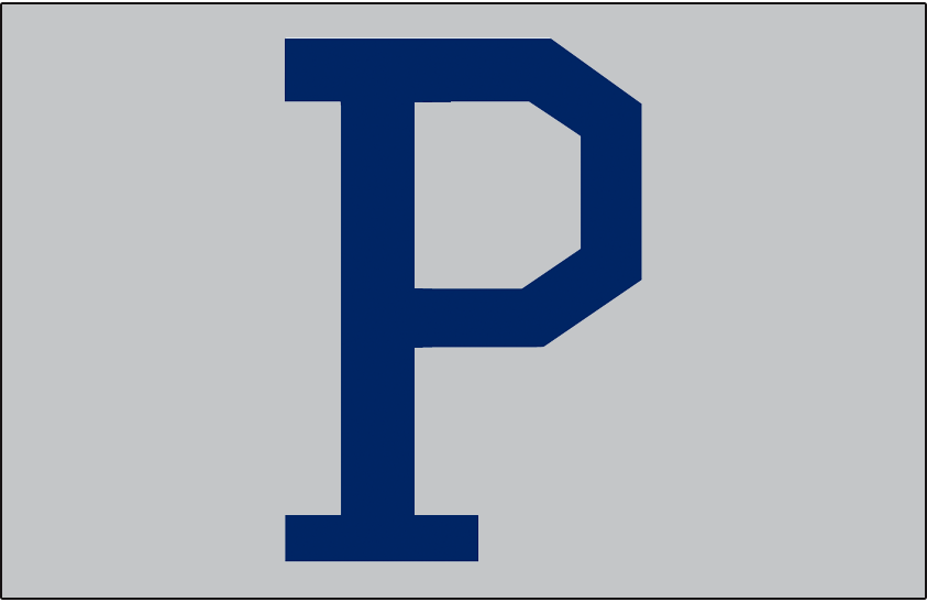 Pittsburgh Pirates Logo Jersey Logo (1920-1921) - A blue P on grey, worn on the front pocket of the Pirates road jersey in 1920 and 1921 -- similar style later worn on the jersey in 1932 SportsLogos.Net