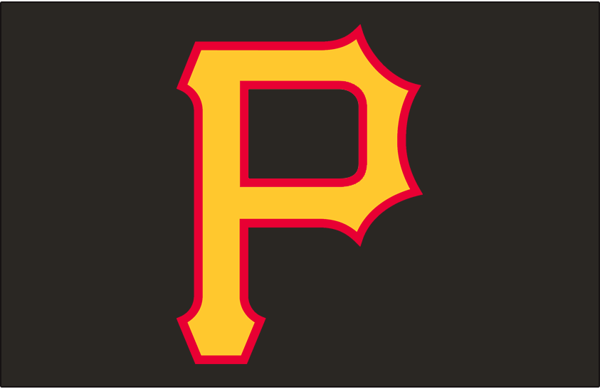 Pittsburgh Pirates Logo Cap Logo (1997-2000) - A yellow and red P on a black cap, worn on the Pittsburgh Pirates alternate home cap from 1997 through 2000 SportsLogos.Net