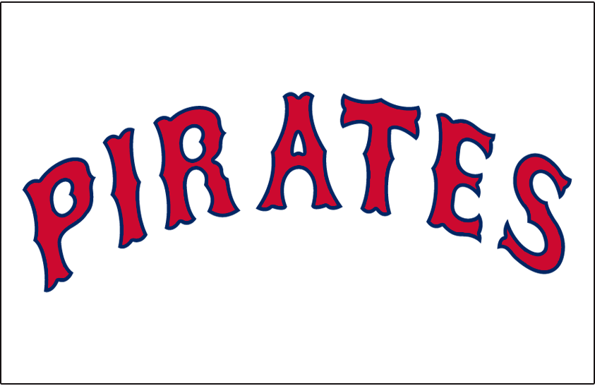 Pittsburgh Pirates Logo Jersey Logo (1936-1937) - PIRATES arched in a Tuscan style font in red and blue on white, worn on Pirates home jersey in 1936 and 1937 SportsLogos.Net