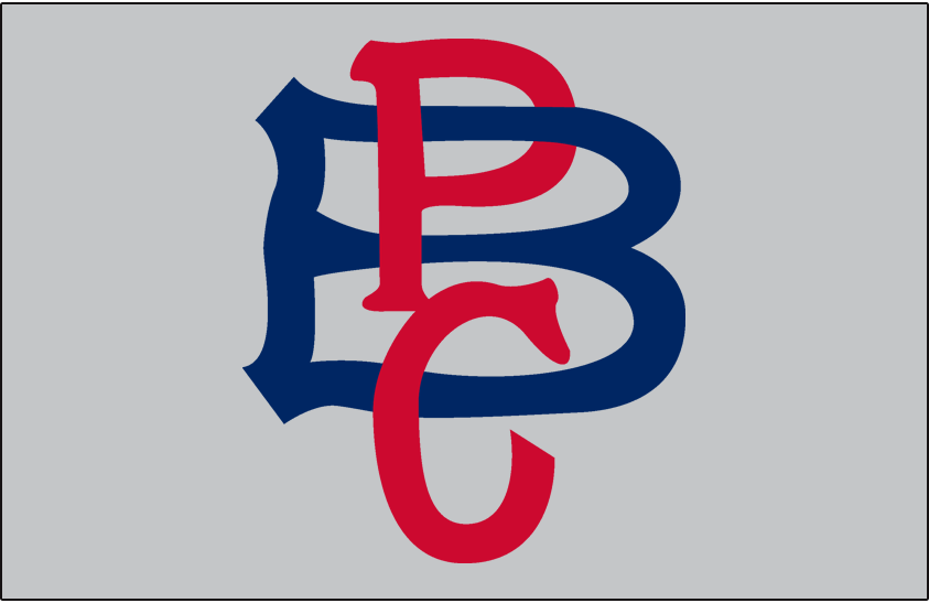 Pittsburgh Pirates Logo Jersey Logo (1908-1909) - PBC (for Pittsburgh Baseball Club) in red and blue, worn on the sleeve only of the Pirates road jersey in 1908 and 1909 SportsLogos.Net