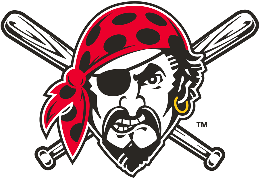 Pittsburgh Pirates Logo Alternate Logo (1997-Pres) - Jolly Roger, a pirate wearing a red bandana with an earring and two crossed baseball bats behind his head SportsLogos.Net