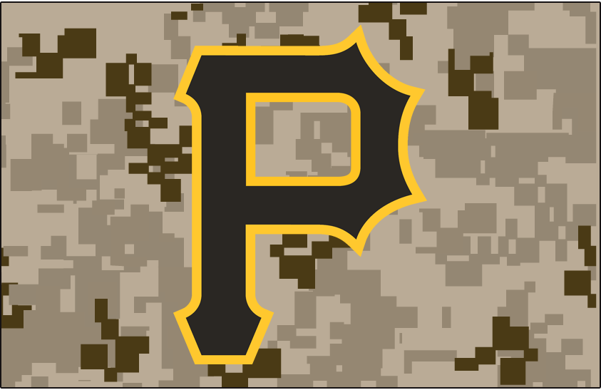 Pittsburgh Pirates Logo Cap Logo (2015-2016) - Black P outlined in gold on digital camouflage pattern. Worn on Pittsburgh Pirates camouflage alternate caps starting in 2015 SportsLogos.Net
