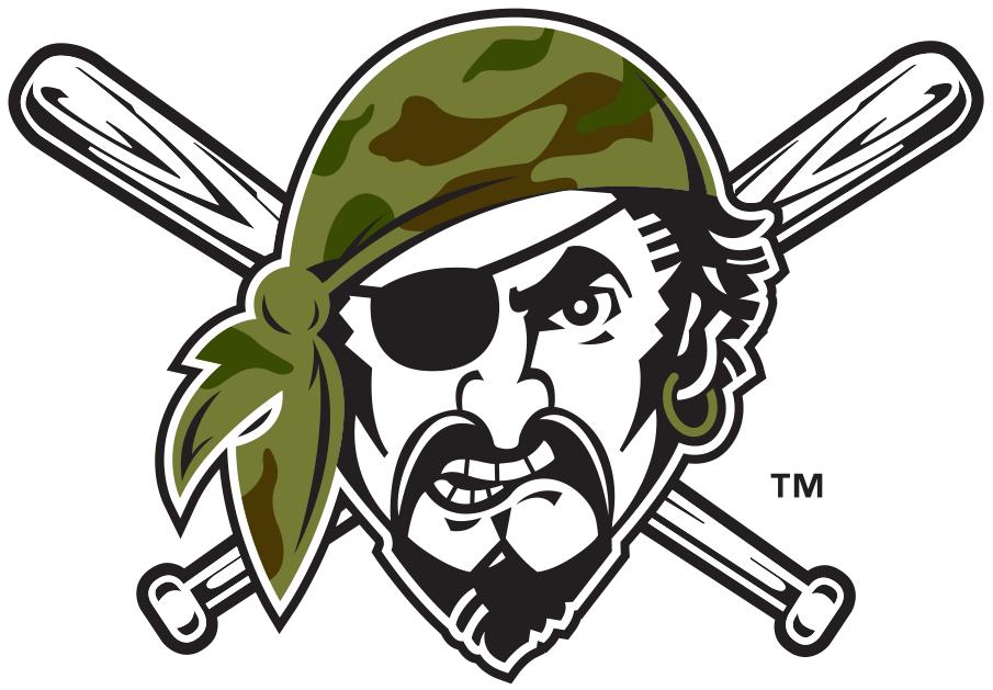 Pittsburgh Pirates Logo Misc Logo (2018-Pres) - Pirate head wearing camo bandana, worn on sleeve of Pirates alternate camouflage jersey SportsLogos.Net
