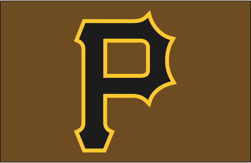 Pittsburgh Pirates Logo Cap Logo (2017) - A black and gold P on a brown cap, worn with the Pittsburgh Pirates camouflage alternate jerseys for just the 2017 season SportsLogos.Net