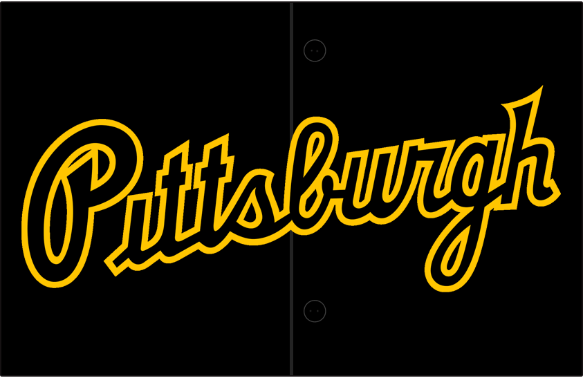 Pittsburgh Pirates Logo Jersey Logo (2020-Pres) - Pittsburgh scripted in black with yellow trim, worn on front of Pittsburgh Pirates alternate road black uniforms beginning with 2020 season SportsLogos.Net